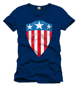 CAMISETA CAPITAN AMERICA OLD SHIELD LOGO NAVY