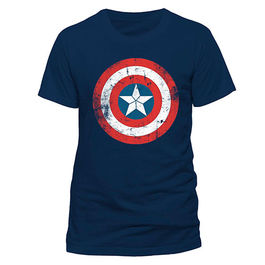 CAMISETA CAPITAN AMERICA SHIELD LOGO DISTRESSED