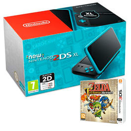 CONSOLA NEW NINTENDO 2DS XL NEGRA TURQUESA + THE LEGEND OF ZELDA TRI FORCE HEROES 3DS