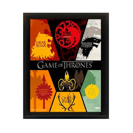 POSTER ENMARCADO CON EFECTO 3D GAME OF THRONES HOUSE