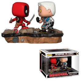 PACK DE 2 FIGURAS POP COMIC MOMENTS DEADPOOL VS CABLE 9 CM