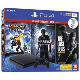CONSOLA PS4 SLIM 1 TB + RATCHET & CLANK + UNCHARTED 4 + THE LAST OF US PS4