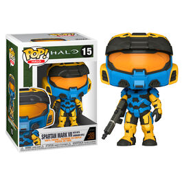 FIGURA POP HALO INFINITE MARK VII BLUE WITH COMMANDO RIFLE 9 CM
