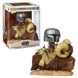 FIGURA POP STAR WARS MANDALORIAN MANDO EN BANTHA CON THE CHILD EN BOLSA 9 CM